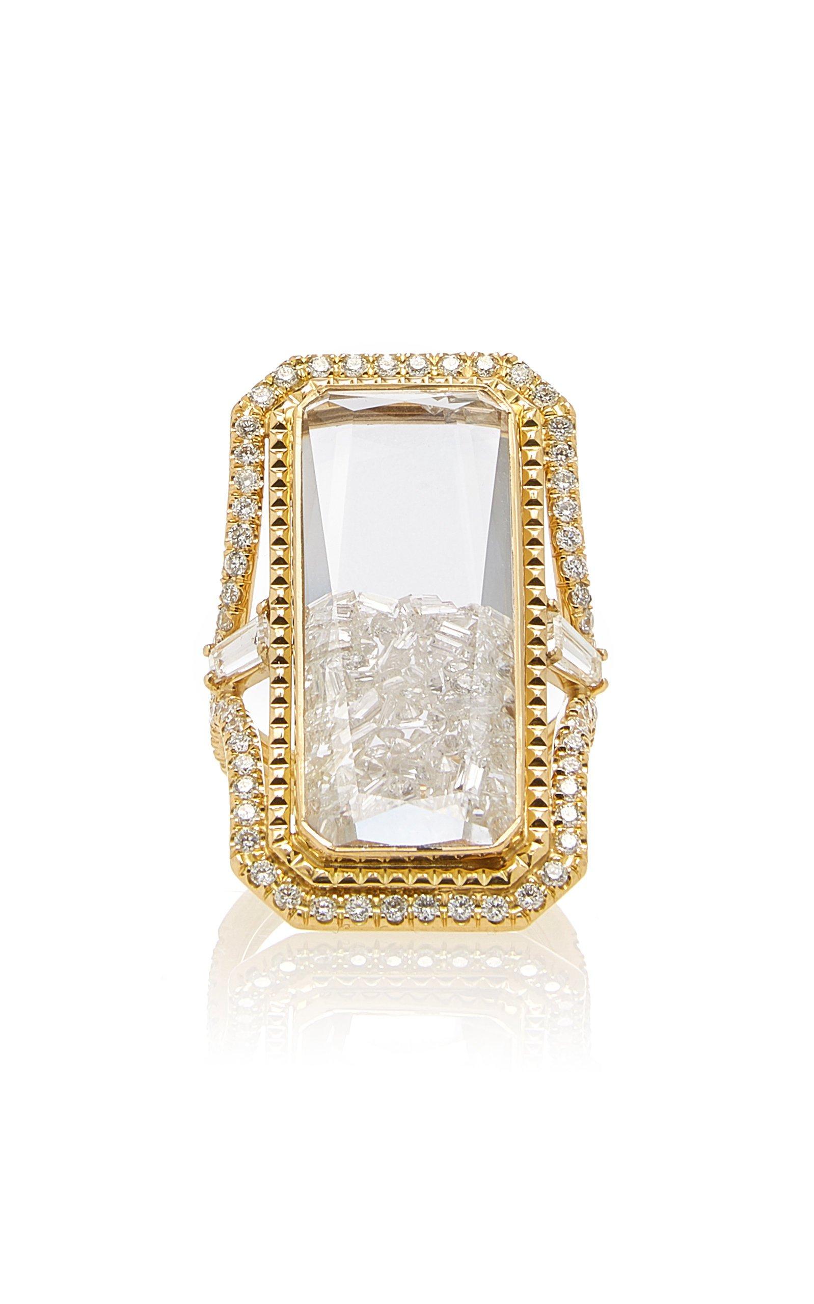 Moritz Glik Rectangular Diamond Kaleidoscope Shaker Ring