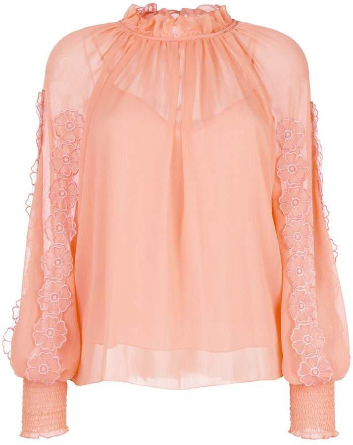 floral lace trim blouse