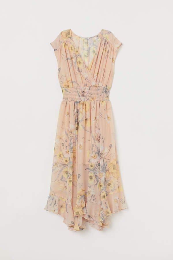 Dress with Smocking - Beige