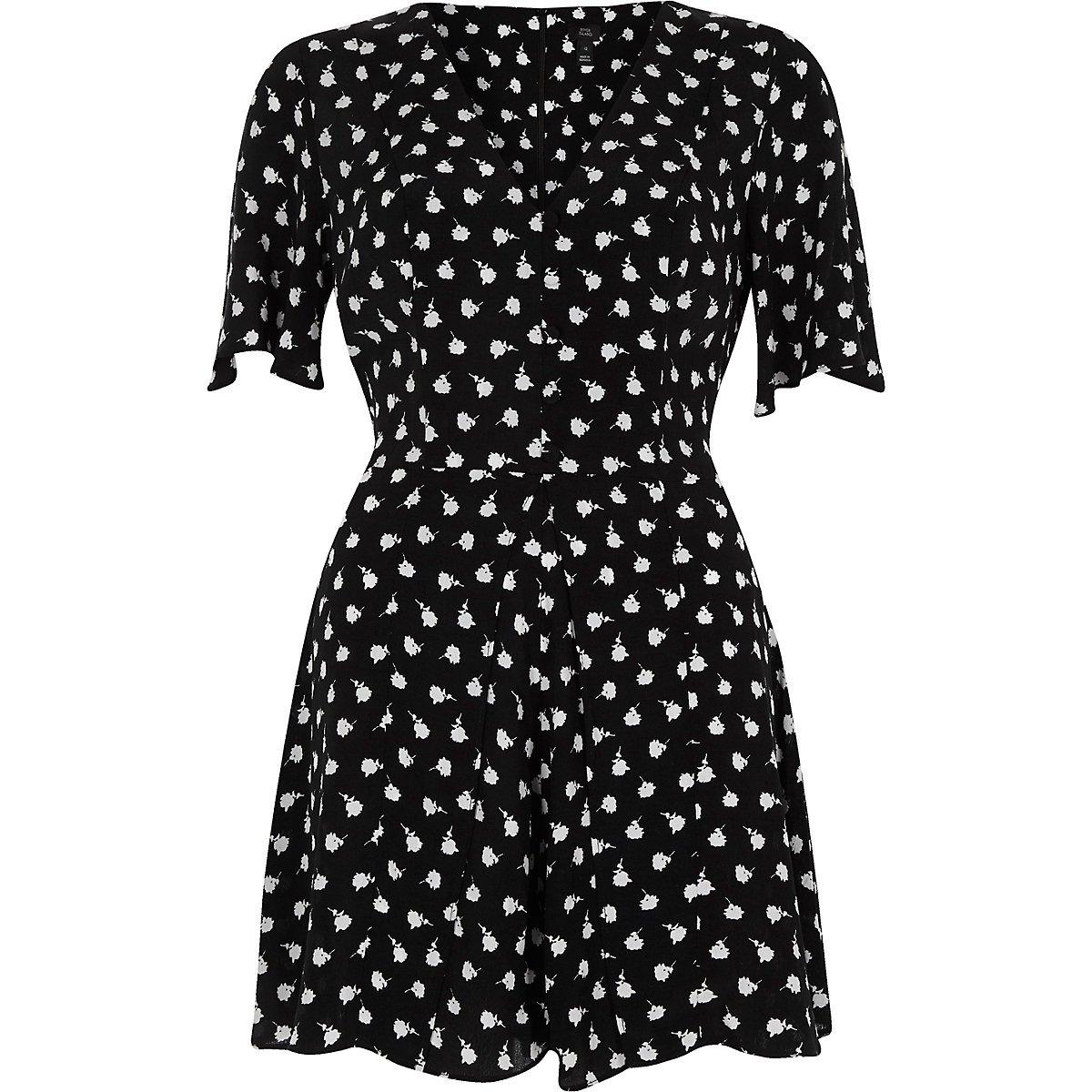 Black leaf print skort romper - Rompers - Rompers & Jumpsuits - women