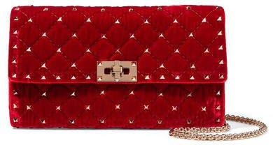 Garavani The Rockstud Quilted Velvet Shoulder Bag - Red