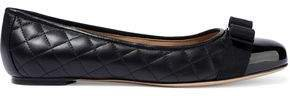 Varina Bow-embellished Quilted And Patent-leather Ballet Flats