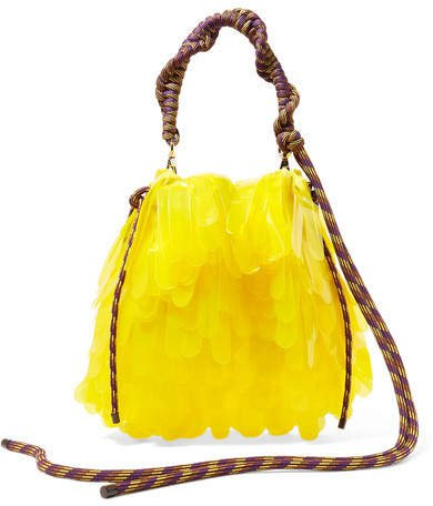 Rope-trimmed Pvc-embellished Tulle And Canvas Tote - Yellow