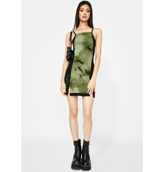 GANGYOUNG Dark Green Poison Bodycon Dress | Dolls Kill