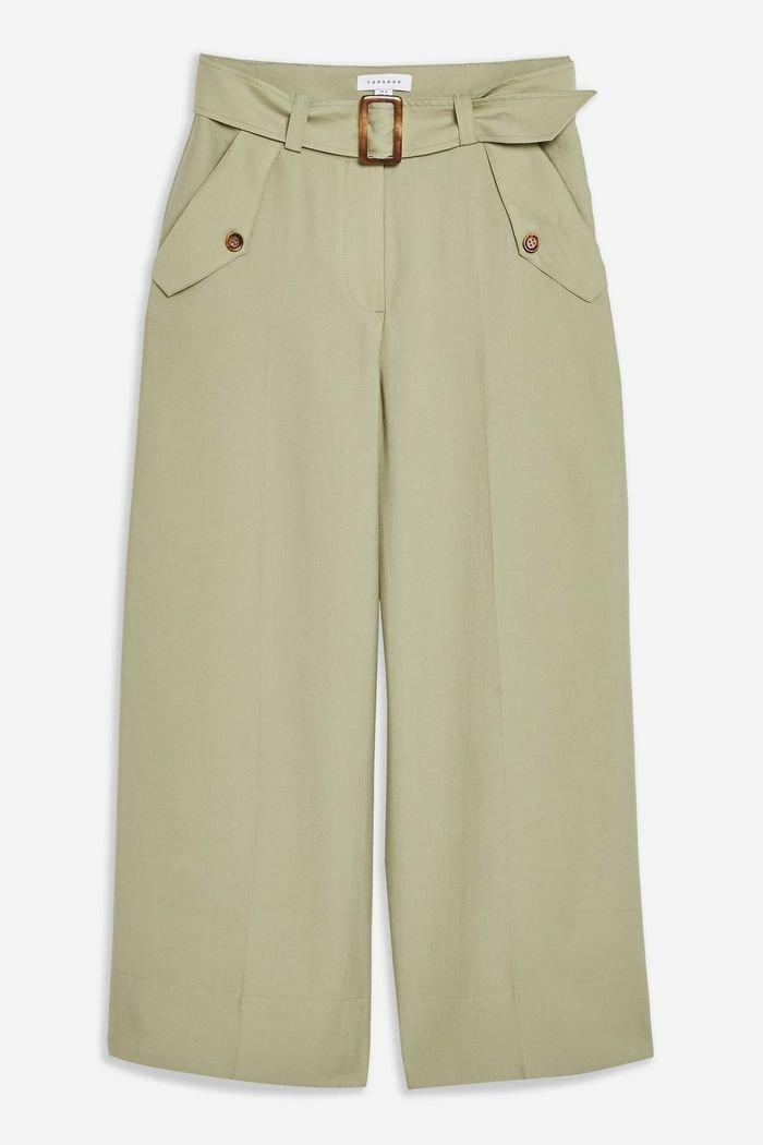 Cupro Belt Crop Wide Leg Trousers | Topshop