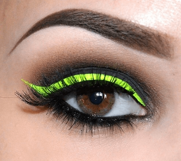 Neon Yellow-Green & Black Eye Makeup