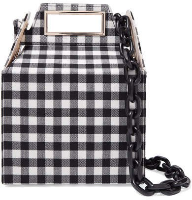 Takeout Gingham Wool Shoulder Bag - Black