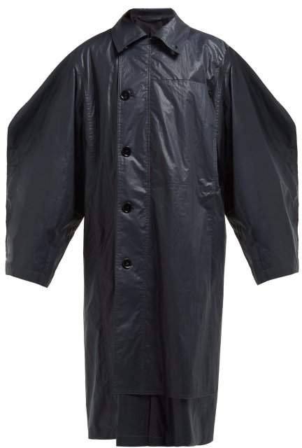 Asymmetric Cotton Trench Coat - Womens - Dark Navy