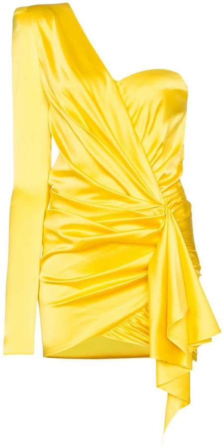 one-shoulder draped mini dress