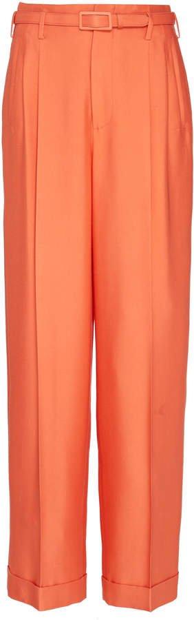 Darcy Silk Mid-Rise Wide-Leg Pants