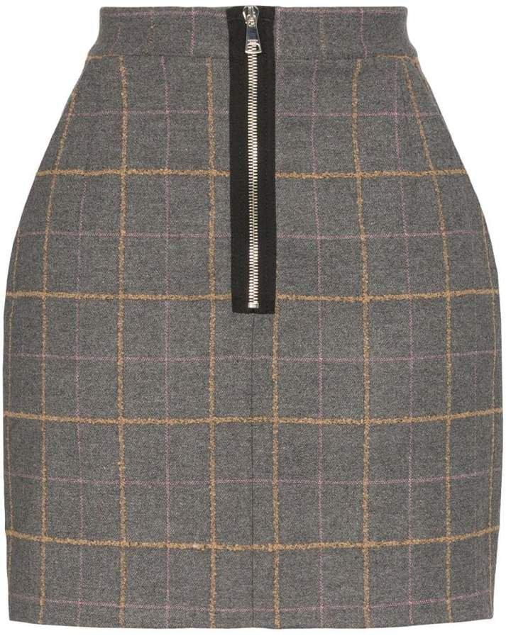 high-waisted check mini skirt