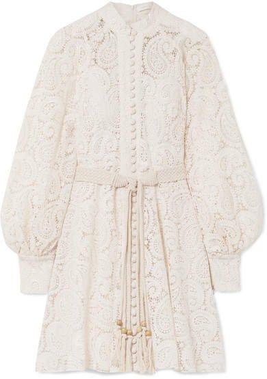 Amari Guipure Lace Mini Dress - Off-white