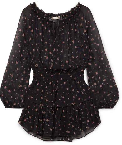 Popover Tiered Floral-print Silk-georgette Mini Dress - Black