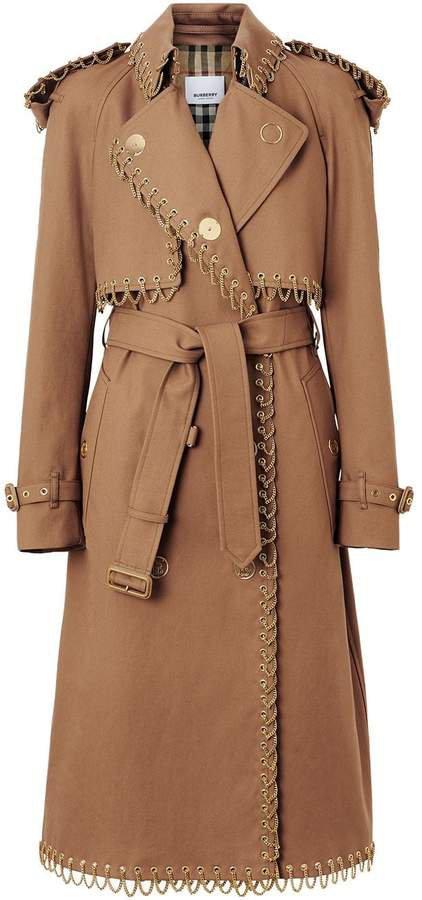 Chain Detail Cotton Gabardine Trench Coat