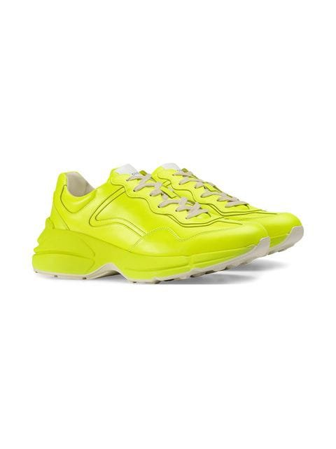 Gucci Rhyton fluorescent leather sneakers