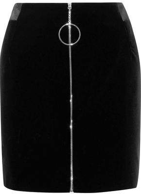 Zip-detailed Cotton-velvet Mini Pencil Skirt