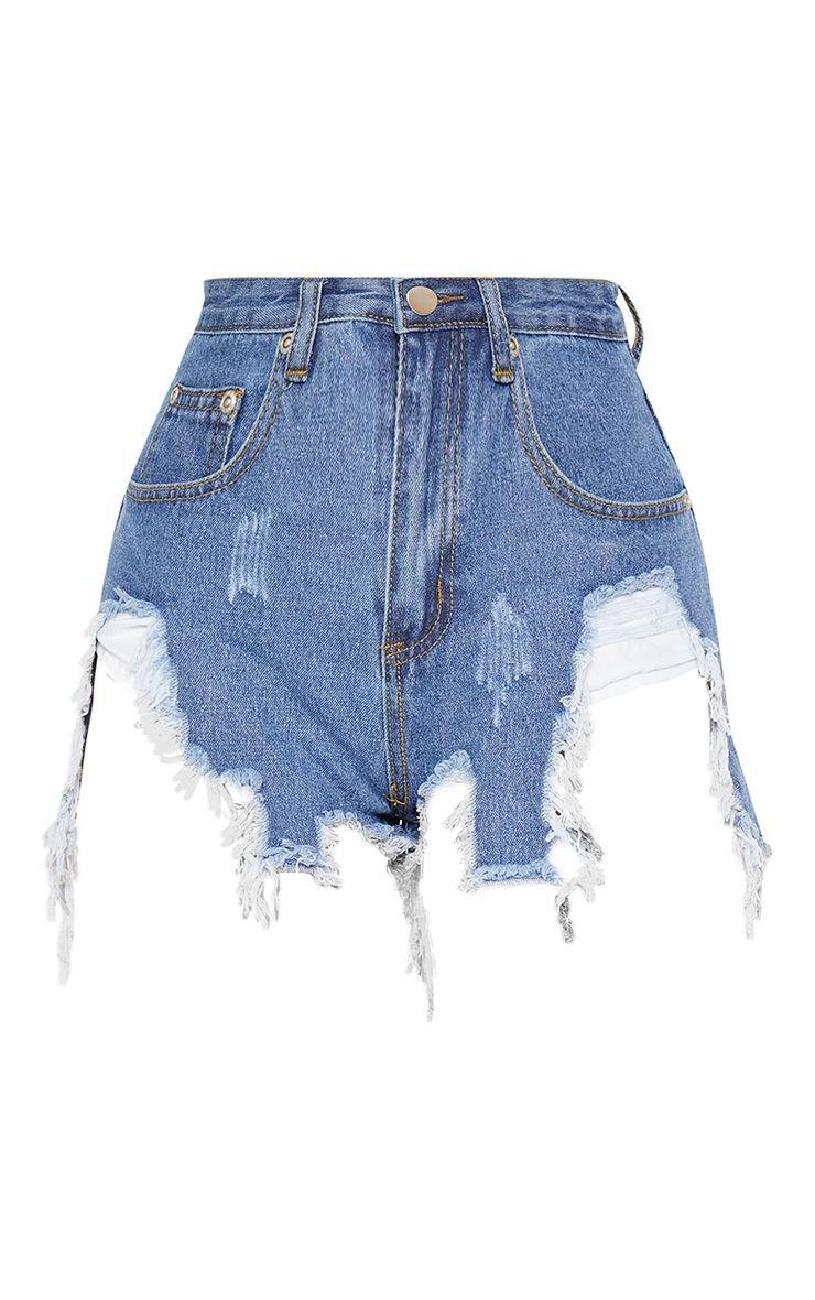 Mid Wash Extreme Thigh Rip Denim Short | PrettyLittleThing USA