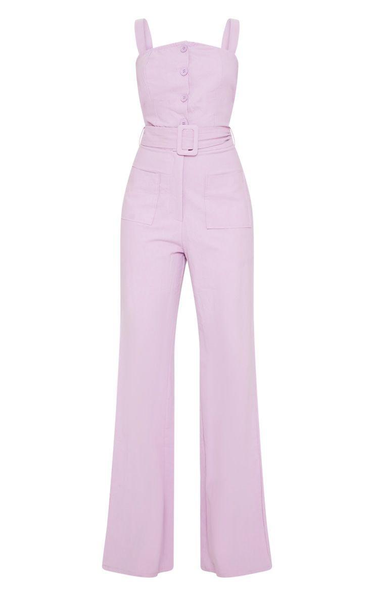 Petite Lilac Wide Leg Square Pocket Button Jumpsuit | PrettyLittleThing