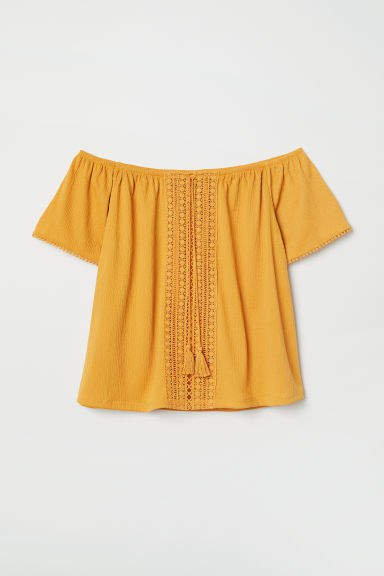 Off-the-shoulder Blouse - Yellow