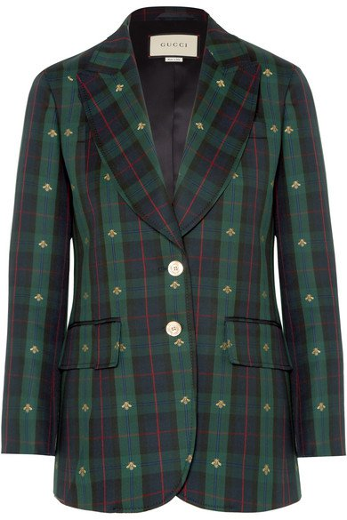Gucci | Embroidered checked wool blazer | NET-A-PORTER.COM