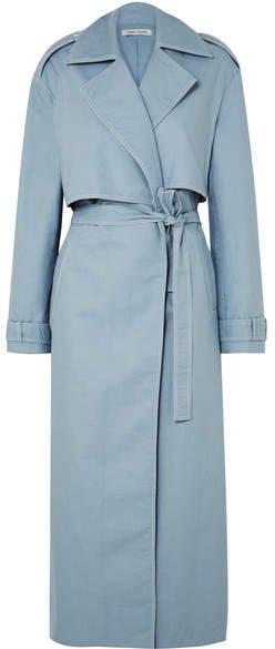 ANNA QUAN - Inez Cotton-gabardine Trench Coat - Light blue