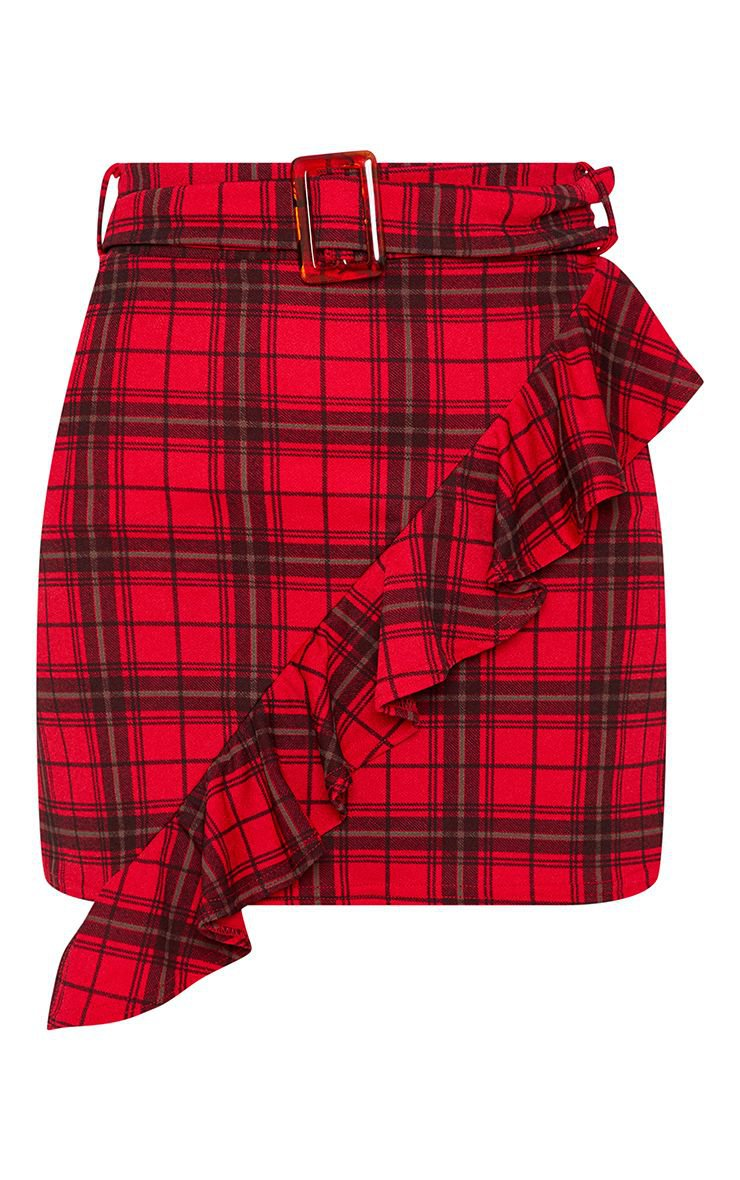 Red Tartan Check Belted Waist Skirt   Skirts   PrettyLittleThing USA