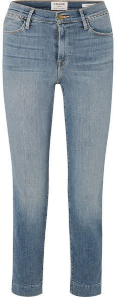 Le High Cropped Mid-rise Slim-leg Jeans - Mid denim