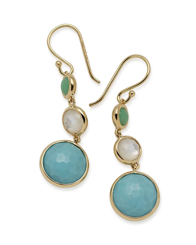 Ippolita 18k Lollipop® Three-Stone Drop Earrings in Pacific   Neiman Marcus
