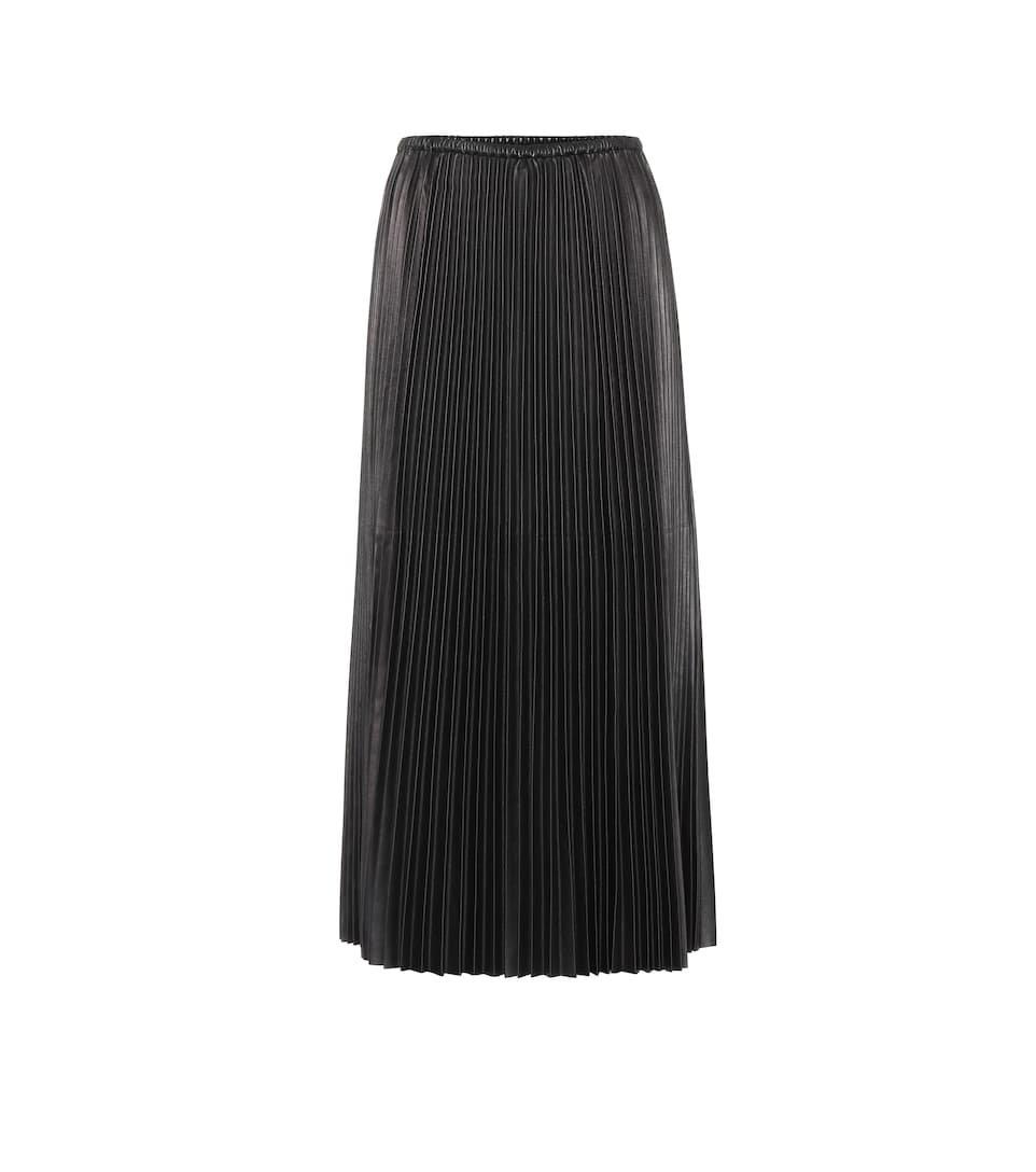 Valentino Pleated Leather Midi Skirt