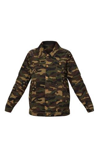Camouflage Oversized Denim Jacket | PrettyLittleThing