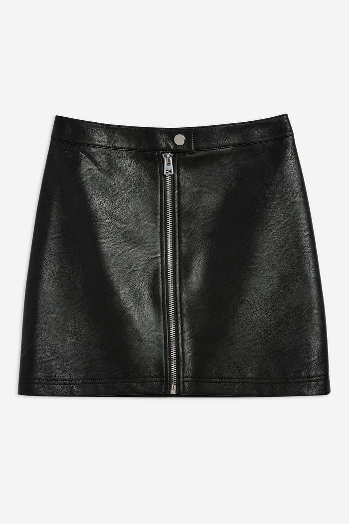Leather Look Mini Skirt   Topshop