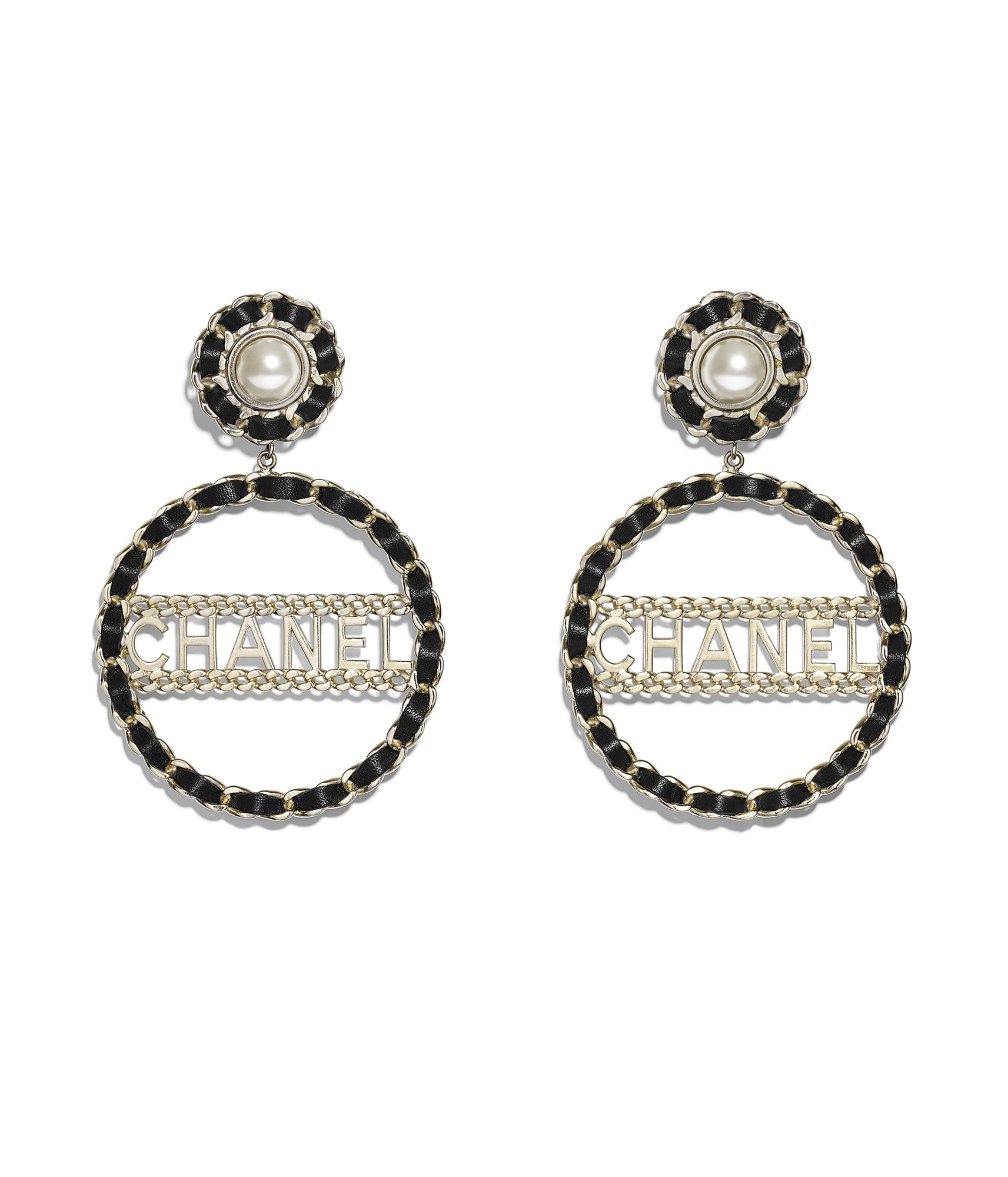 Clip-on Earrings, metal, imitation pearls & calfskin, gold, black & pearly white - CHANEL