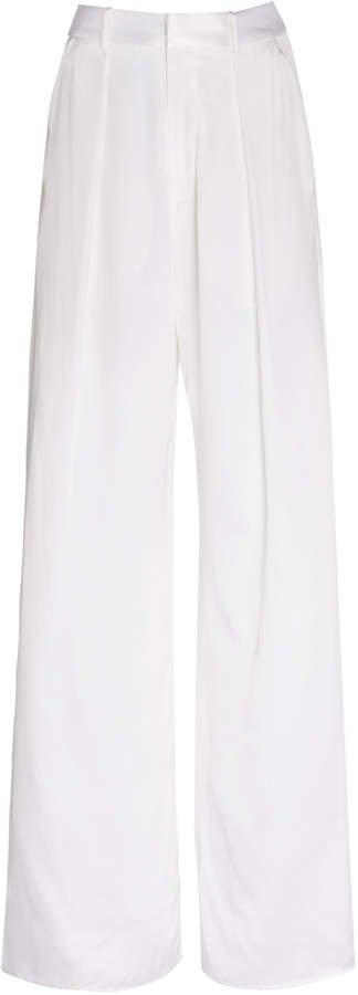 Michael Lo Sordo Silk-Satin Wide-Leg Pants Size: 6