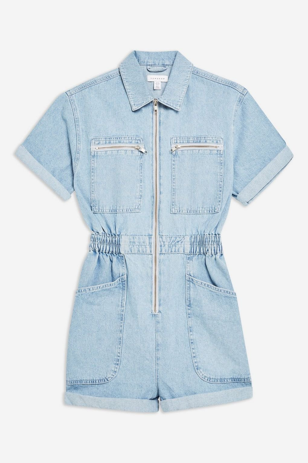 Zip Bleach Denim Romper - Denim - Clothing - Topshop USA