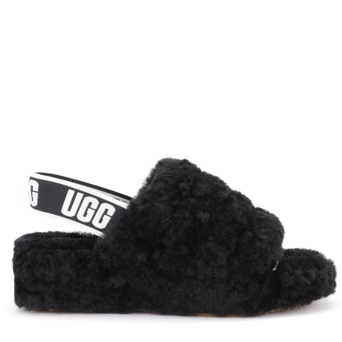 Ugg Fluff Yeah Sandal Slipper Made Of Soft Black Leather