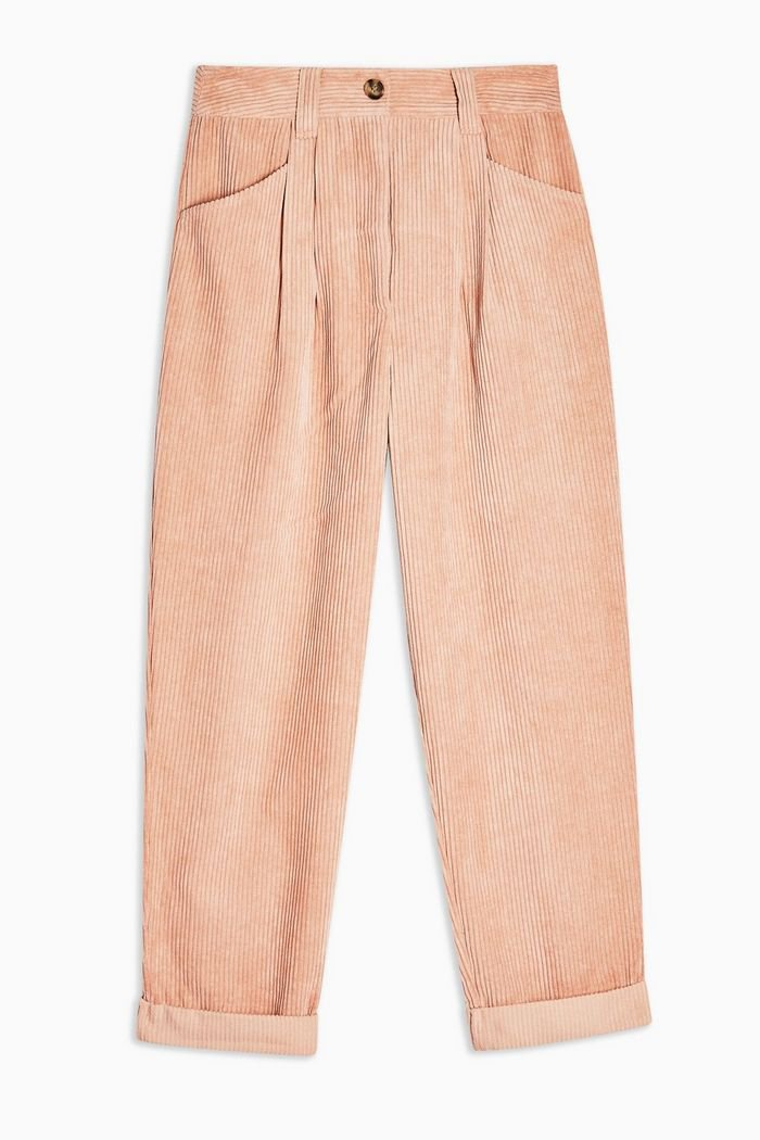 Pink Casual Corduroy Tapered Trousers   Topshop