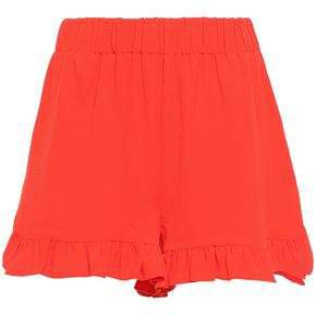Ruffled Stretch-crepe Shorts