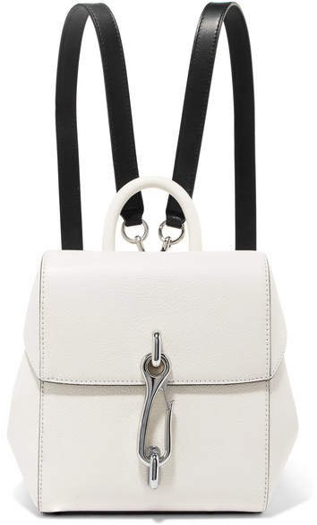 Hook Mini Smooth And Textured-leather Backpack - White