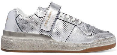 Travis Logo-print Distressed Perforated Metallic Leather Sneakers - Silver
