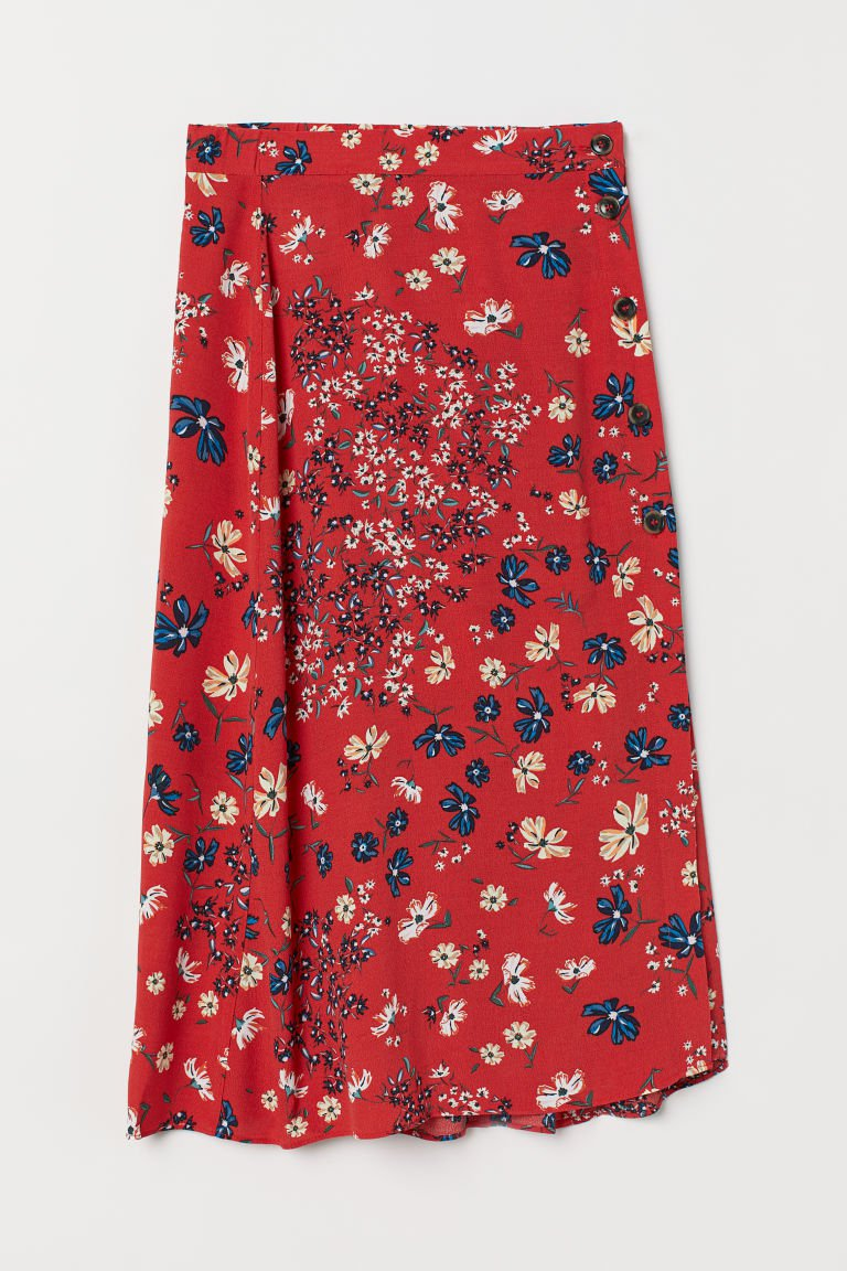 Calf-length Skirt - Red/floral - Ladies | H&M US
