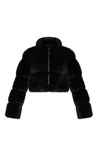 Black Faux Fur Puffer Jacket | Coats & Jackets | PrettyLittleThing