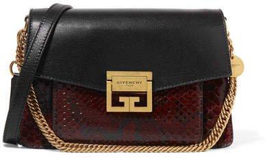 Gv3 Small Leather And Python Shoulder Bag - Dark brown
