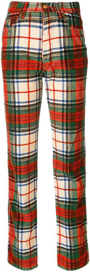 Pre-Owned corduroy plaid trousers