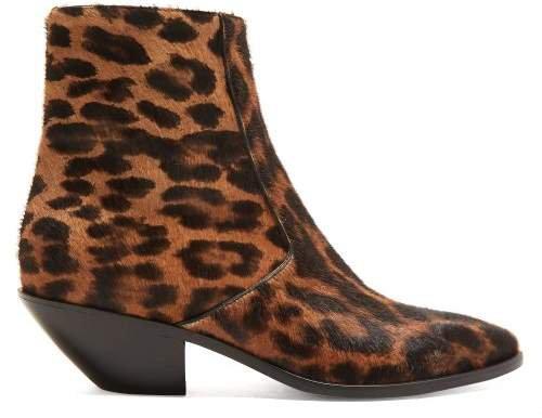 West Leopard Print Calf Hair Boots - Womens - Leopard