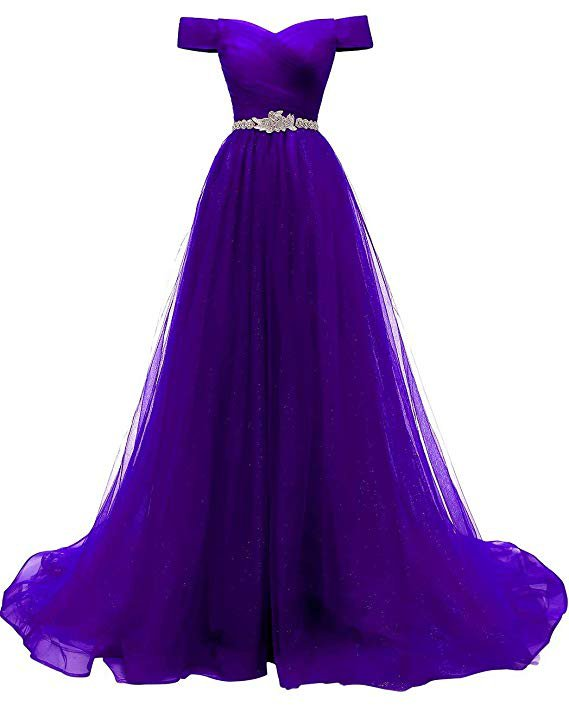 Women's A-line Tulle Prom Dresses Off The Shoulder Formal Evening Ball Gown at Amazon Women's Clothing store: