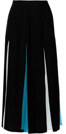 Pleated Chiffon-paneled Crepe Midi Skirt
