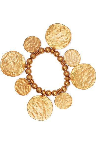Kenneth Jay Lane | Hammered gold-tone beaded bracelet | NET-A-PORTER.COM