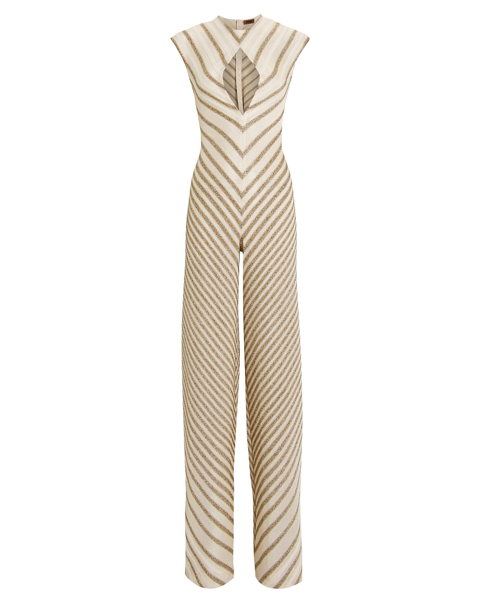 Gold Striped Cut-Out Jumpsuit