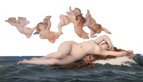 women in the water surrounded by cherubs