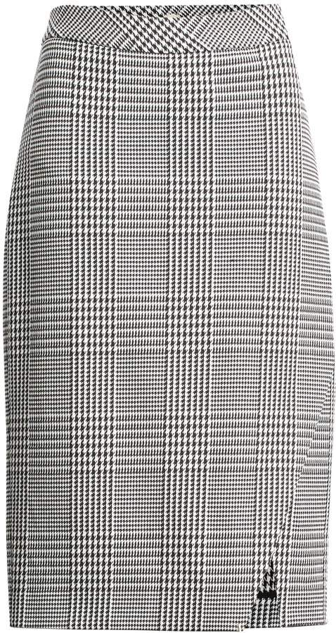 Plaid Bi-Stretch Pencil Skirt